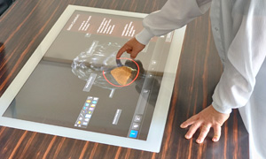 touch display built into a table